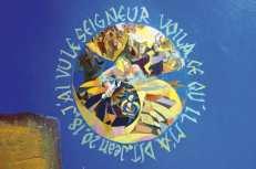 """""""Apparition de Jésus ressuscité à Marie de Magdala"""", Évangile St Marc (16,9-11). Acrylique et sable. Étienne Voulhoux"""