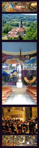 En haut et en bas : Toiles du transept, haut : Étienne Voulhoux, bas : Béatrice Signorelli (acrylique et sable sur toile). Puis église St Jean-Baptiste. Enfin, Concert des musiciens de l'INSA Lyon en 2009.